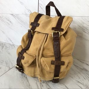 ASOS Canvas Leather Buckle Latch Hiking Bookbag